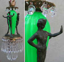 Satyr Nouveau chandelier Swag Lamp crystal brass bronze Vintage Whimsical glow