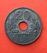 20 CENTIMES 1943 PARIS / FRANCE - ZINC en état SPL pr.NEUVE / UNC - QUALITE -