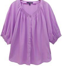 Roamans Scoop Neck Purple Blouse Top Plus Size 24 26 28 30 32 lilac 3/4 274