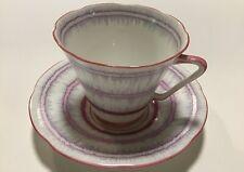 1940's Vtg Royal Grafton tea cup & saucer ~ Ruffles pastel pink & purple