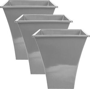 3 x Silver Large Plant Pots Planters Indoor Outdoor Garden Tall Plastic Planter