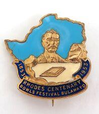 SCARCE 1953 RHODESIA BULAWAYO RHODES CENTENARY LAWN BOWLS FESTIVAL BADGE.