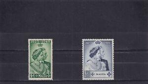 Malta 1948 Royal Silver Wedding SG 249/50 Mint Hinged