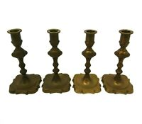 4x Antique Victorian Brass Candlesticks 17cm J246