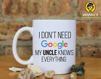 I don't need google my UNCLE knows everything. Coffee Mug, Uncle gifts