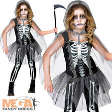 Skeleton Grim Reaper Girls Fancy Dress Halloween Undead Childrens Teen Costume