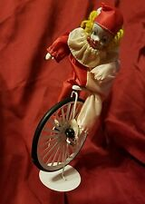 Vintage Porcelain and Fabric Clown on white Unicycle Bike Stand