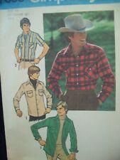 "Vintage Simplicity Pattern 7698 Men's Shirt Size 42 Neckband: 16"" Cut Pattern"