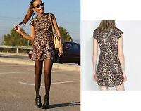 ZARA Leopard Print Ladies Mini Party Casual Dress MEDIUM
