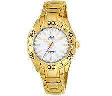 Q&Q F348-001Y Mens Gold Dive Dress Quartz Bracelet Watch New Citizen Movement