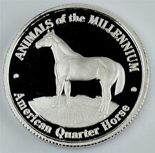 PURE .999 SILVER  American Quarter Horse 22mm Liberia Legal Tender Coin yr. 2000