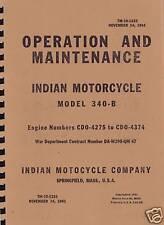 TM10 1333 ~ WWII Era ~ Indian Chief  340b ~ Operation & Maint Manual ~ Reprnt