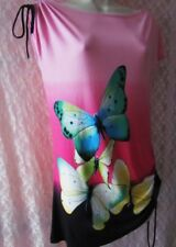 (109)Poema Pink Ombre Large Vivid Butterflies Printed T-Shirt Top 10/12/14/16
