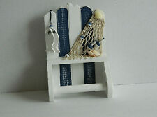 SHABBY CHIC  WOODEN BLUE AND WHITE TOILET ROLL HOLDER SEASIDE NAUTICAL BATHROOM