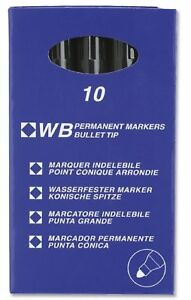 Permanent Marker Pen Black Bullet Tip x 10  Perfect for Work, Office, School