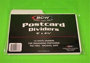 "10 POSTCARD DIVIDERS, RIGID, PVC FREE, ARCHIVAL SAFE, 6""X 4-1/2"", MULTIPLE USES"