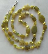 Collana lunga giada coreana agata perle di fiume verde Greenery Argento 925