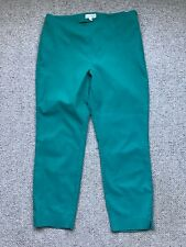 PHASE EIGHT Green Trousers Size 14 Cotton Mix Ankle Stretch Casual Work Slim Leg