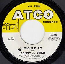 "SONNY & CHER-LITTLE MAN/MONDAY-RARE ORIGINAL USA 7"" 45rpm 1966-ATCO 45-6440"