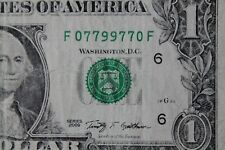 MUST SEE RADAR $1 bill: F07799770F Rare TRINARY Serial Number US paper currency