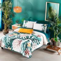 Aralia Tropical Floral MultiColor Natural Origin Fabric Reversible Comforter Set