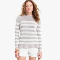 J Crew Always 1988 Roll Neck Sweater Womens M Pullover Knit White Gray Stripe