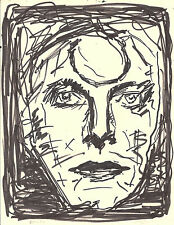 Expressionist Illustration on Paper Iconic Rock Musician David Bowie Pop Art