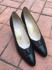 Salvatore Ferragamo Black Pumps, Heels, Button Detail, Size 7.5 AA, Excellent!