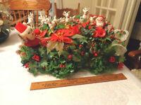 Vintage Christmas Plastic Santa Reindeer Poinsettias Bells Holly Centerpiece