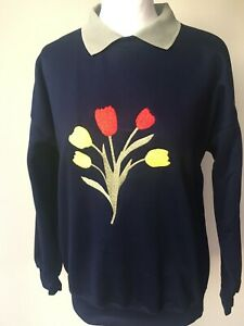 LADIES,WOMENS,LADYS,EMBROIDERED SWEATSHIRTS,TOPS,WITH TULIPS DESIGN NEW FOR 2021