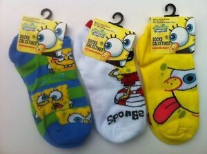 Socks 3 Pairs Sponge Bob Boy Girl Size 6-8.5 Assorted NEW