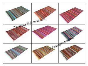 Rugs 4x6 Feet & 3x5 Feet Area Rug Floor Mat Indian Cotton Chindi Rugs Hand Woven