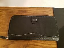 Tignanello Black Leather Zip Around Wallet