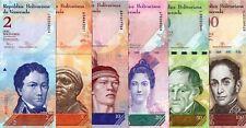 VENEZUELA UNC BANKNOTES 6 PCS SET 2 5 10 20 50 100 BOLIVARES UNCIRCULATED