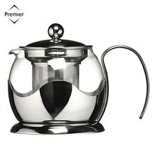 Premier Housewares Stainless Steel/Glass Teapot 750Ml Tea Coffee Serveware New