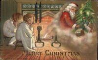 Christmas - Children Asleep by Fire Waiting For Santa Claus c1910 Postcard