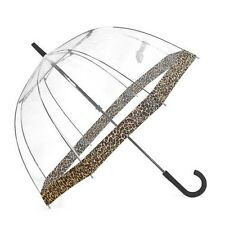 Clifton Royal Dome Birdcage Clear Umbrella Cheetah Leopard Trim Wedding Or Rain