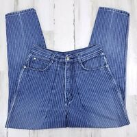 "VTG Womens Gitano Mom High Waist High Rise Pinstripe Blue Jeans 26"" to 27"" Waist"