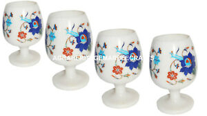 Marble 4 Pcs Wine Glass Real Inlay Stone Marquetry Table Deco Casino Glass H1350