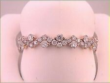 10K WHITE ROSE ROUND DIAMOND ZIGZAG STACKABLE BAND RING 1/2 CTTW