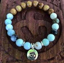 Amazonite with Olivewood Accent Beads mala lucky bracelet men pray buddhist