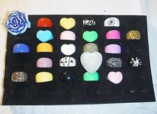 COOL WHOLESALE VINTAGE COLLECTION 25 LUCITE RINGS FUNKY GROUP L MIXED SIZES