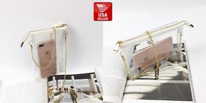 Transparent Clear PVC Purse Crossbody Shoulder Bag Gold Zipper Game Day Arena