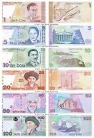 Kyrgyzstan 1 + 5 + 10 + 20 + 50 + 100 Som Set of 6 Banknotes 6 PCS UNC