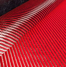 Reversible CARBON Fibre Cloth Red KEVLAR Fabric Material 3x1 Twill 127cm x 28cm