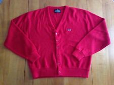 VTG Crown Sportswear Red Cardigan Sweater Turtle Logo 100% Acrylic Men's Size XL