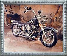 Harley Davidson Black Motorcycle Silver Framed Picture Art Print (20x24)