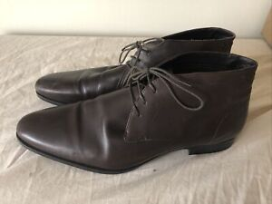 NEXT Mens Fashion Brown Leather Lace Up Ankle Smart Heeled Shoes Size UK 12