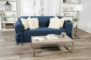 True Denim Blue Jean Cotton Washable  Sofa/Loveseat/Chair Slipcover + Bow Tie
