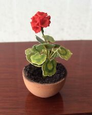 Dolls house miniature 1:12 pretty HANDMADE potted geranium